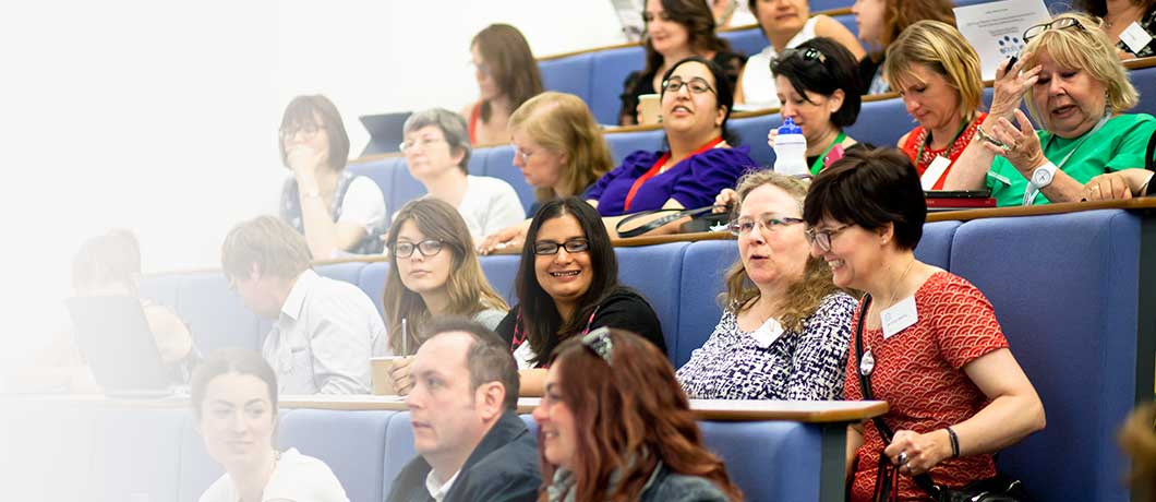 Group of people in lecture theatre at annual learning and teaching conference