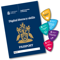 Digital literacy passport with the five digital literacy skills badges