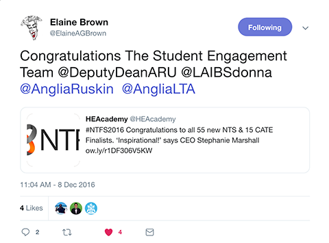 Screenshot of tweet by @ElaineAGBrown congratulating the Student Engagement Team
