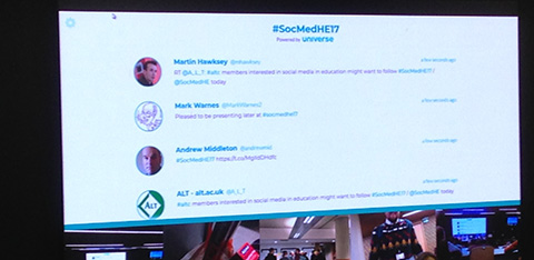 Screen showing tweets about conference