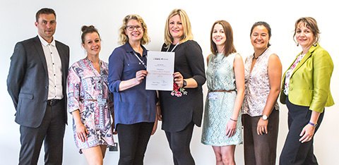 Student Engagement Team from Lord Ashcroft International Business School (LAIBS) receiving their certificate for being a Collaborative Awards for Teaching Excellence finalist