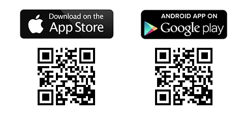 QR codes for App Store and Google play