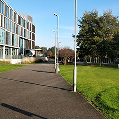 View along to Tindal Building on Anglia Ruskin University's Chelmsford campus