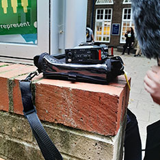 Sound recording equipment placed on a wall