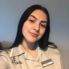 Nursing student Ella in her uniform