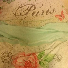 Bedspread with the word 'Paris' on it