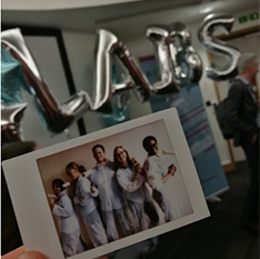 Silver balloons spelling out LAIBS - the acronym for Lord Ashcroft International Business School