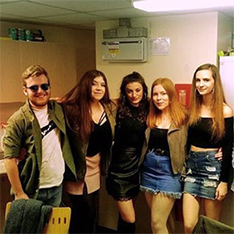 Psychology student Louise and four friends, dressed for a night out
