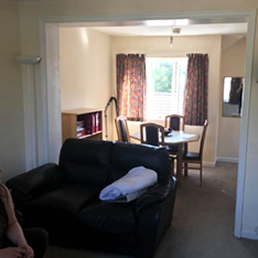 Student flat - view from living room into dining room
