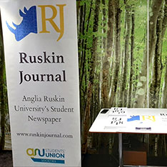 Banner and flyers advertising The Ruskin Journal