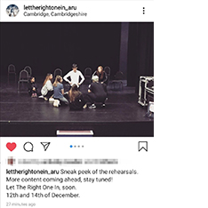 Instagram post promoting a theatre show, Let the Right One In