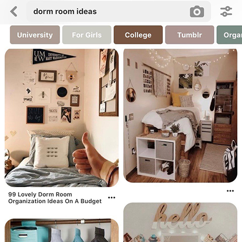 Screengrab of the Pinterest website showing interior decor