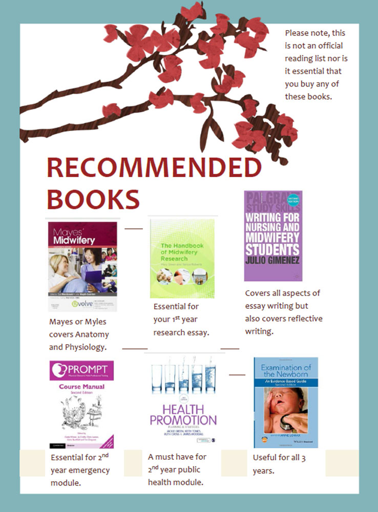 A flyer showing six books that Beth recommends for Midwifery at Anglia Ruskin University