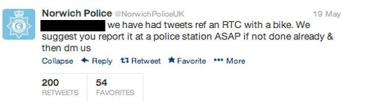 Tweet from Norwich Police reading: We have had tweets ref an RTC with a bike. We suggest you report it at a police station ASAP if not done already & then DM us