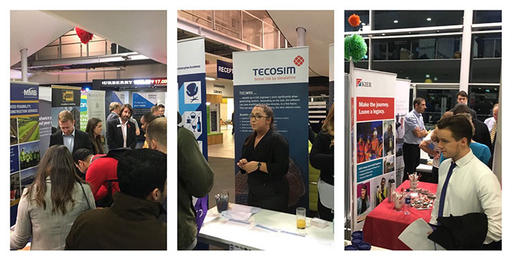Three small photos showing people visiting stands at a careers fair