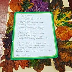 An example of writing about trees, on a back ground of leaves