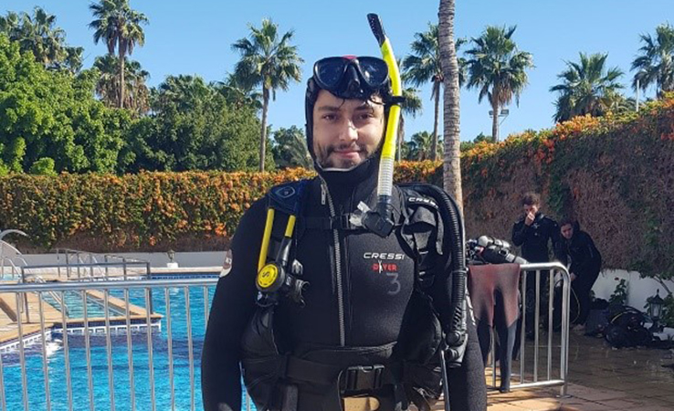 Zoology student Lucas on a scuba diving trip in the Canary Islands