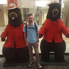 Paramedic Science student Ben with Canadian Fire Rescue Service Bear mascots