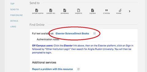 screenshot of ARU Library online system: link access to full text of ebbok
