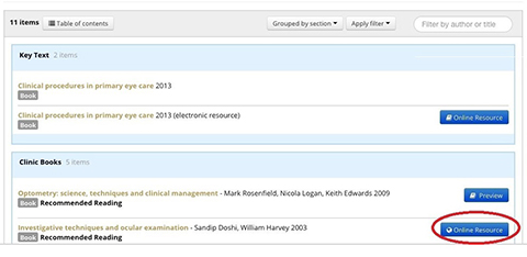 screenshot of ARU Library online system: list of books of a module