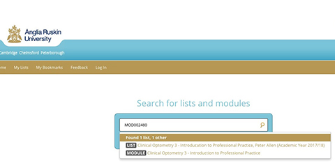 screenshot of ARU Library online system: how to search for a reading list