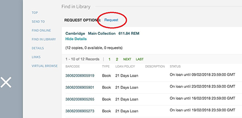 screenshot of ARU Library online system: how to request a book