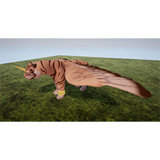 Concept art of a tiger with wings and a unicorn horn