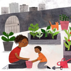 Illustration of a mother and son working in a city garden, by Alice Courtley.