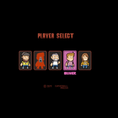 16-bit style game 'player select' screen with five avatars of Curveball employees