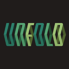 The word 'unfold' in shades of green, bent along the horizontal centre