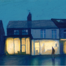 Illustration of a shopfront at night by Jodie Howard