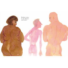 Illustration of two naked men and one naked woman seen from behind by Rosie Haine