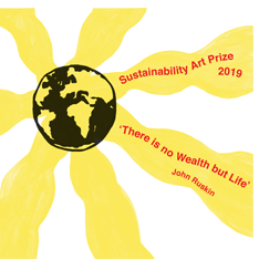 Illustration of Earth surrounded by sun-like rays - promoting the Sustainability Art Prize 2019