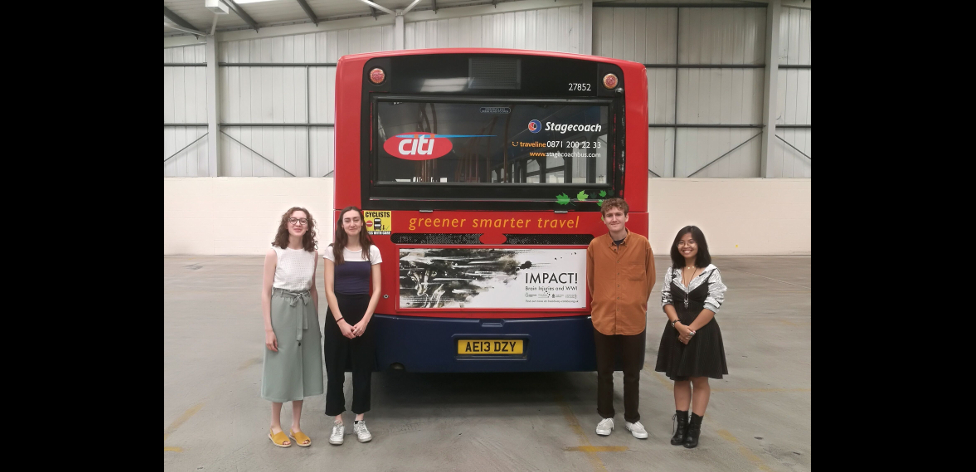 (l-r) Cecelia Woods, Kezia Hulse, Sam Bryson and Alice Nguyen with one of the finished designs