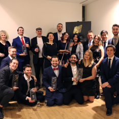Staff and students of the BA Film and Television Production course at ARU with their prizes at the Royal Television Society East Awards 2019