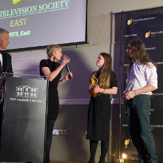 The 'Tertiary Sound' team collecting their award at the RTSE student awards 2020