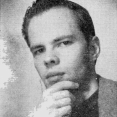 Black and white photo of Philip K Dick