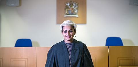 Student in the mock court room