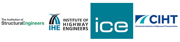 Four logos: The Institution of Structural Engineers, Institute of Highway Engineers, Institute of Civil Engineers, Chartered Institute of Highways & Transportation