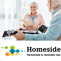 One person reading a book and another person playing guitar; wording 'Homeside - partnership in dementia care' underneath