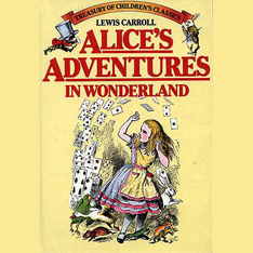 A book cover of Alice's adventures in Wonderland written by Lewis Carroll