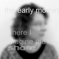 a blurred black and white portrait photo of a woman looking to her left.  Blurred text has been blended in to the photo too
