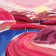 Illustration by Steven Choi - a person riding a bike on a curving path through hills