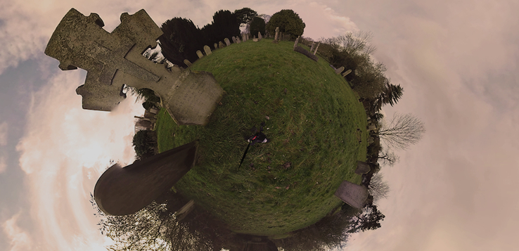 360 degrees aerial photo of a graveyard