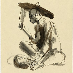 A sketch of a Chinese man in a tunic jacket and horn hat sitting cross-legged.  Drawn by Ronald Searle.
