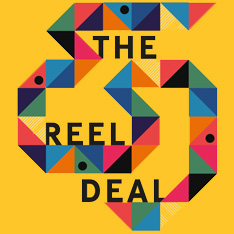 "A snake-like design made from multicoloured triangles around the legend ""The Reel Deal"""