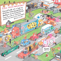 Wimmelbook-style illustration of animals driving vehicles on a busy road