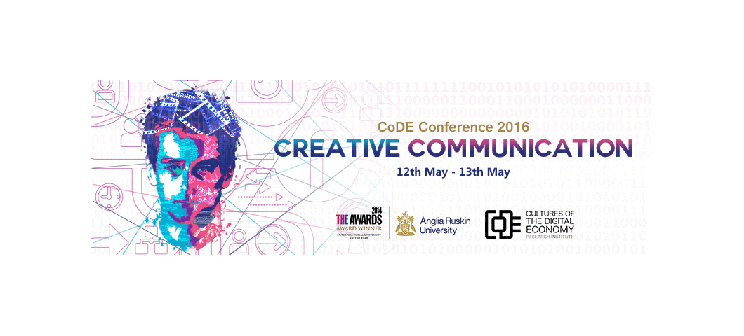 Cultures of the Digital Economy conference 2016 banner showing man's face created by computer graphics