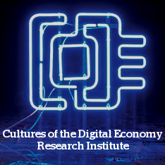 Cultures of the Digital Economy logo - blue electronic sign depicting the letters 'CoDE'