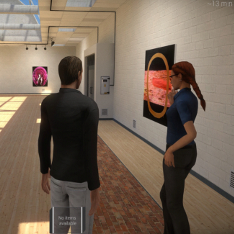 Screenshot of 'Altogame' by Eija Mäkirintala showing a man and a woman in an art gallery